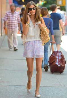 Olivia Palermo in StylerStalker 'Whiskey Shorts & Fifteen-Twenty top.