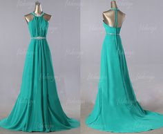 green prom dress long prom dress chiffon prom dress by fitdesign, $126.00