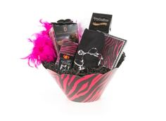 Diva Basket - Can be shipped anywhere in Canada | Whish.ca Pink Zebra, Gift Baskets, Diva, Canada, Canning, Mugs, Tableware, Gifts, Sympathy Gift Baskets
