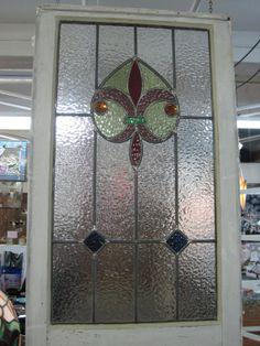 Cottage Style Fleur de Lis Stained Glass in by RenaissanceGlass, $300.00