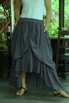 b9fae994c3 Steampunk Layered Gathering Filament Cotton Skirt In Light Charcoal With 2  Roomy Pockets