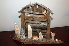 Driftwood & oyster shell nativity. Manger - www.palmettodriftwood.com