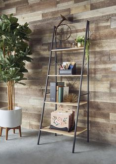 Ladder Bookshelf Wood Metal Bookcase 4 Tier Storage Home Office Living Tan/Black Ladder Shelf Decor, Ladder Bookshelf, Metal Bookcase, Diy Regal, Regal Design, Floating, Cute Home Decor, Diy Home Crafts, Stores