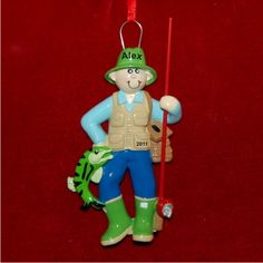 Fisherman At Work Personalized Christmas Ornament
