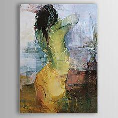 Handgeschilderd olieverfschilderij, rug vrouw