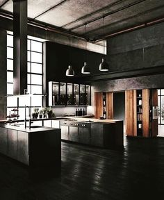 industrial interior design 'Minimal Interior Design Inspiration' is a weekly showcase of some of the most perfectly minimal interior design examples that we've found on the w Industrial Kitchen Design, Industrial Interiors, Industrial House, Modern Kitchen Design, Modern House Design, Interior Design Examples, Black Interior Design, Interior Design Inspiration, Dream House Interior