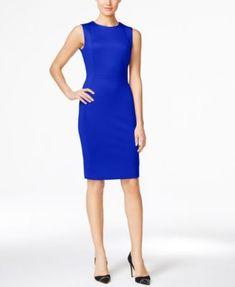 b495a3f8175c94 Calvin Klein Petite Sleeveless Scuba Sheath Dress   Reviews - Dresses -  Petites - Macy s