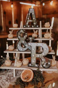 Rustic Boho Cupcake Dessert Shelf from a Rustic Boho Wedding on Karas Party Ideas | KarasPartyIdeas.com