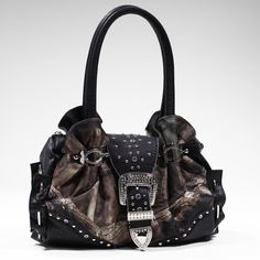 Health  Beauty Collection  - Mossy Oak Croco Studded Camouflage Bag w/ Rhinestone Buckle - Camouflage/Black, $42.99 (http://www.healthbeautycollection.com/mossy-oak-croco-studded-camouflage-bag-w-rhinestone-buckle-camouflage-black/)