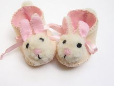 Cream and Pink Mrs Bunny Babies Shoes Baby Girl Booties by funkyshapes, $29.95