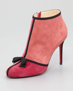 i find these creepily erotic ...Christian Louboutin Arnoeud Grosgrain-Bow Suede Red Sole Ankle Boot