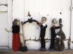 Creepy cool Scary Skeleton musicians art dolls. It is a jazz trio, trumpet, bass…