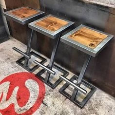 Stool bar design steel and wood industrial made to measure high chair furniture bar pub lounge kitchen Welded Furniture, Steel Furniture, Iron Furniture, Home Decor Furniture, Furniture Design, Furniture Ideas, Garden Furniture, Cardboard Furniture, Kitchen Furniture