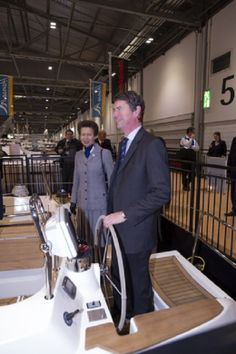 Princess Anne, The Princess Royal tours the 60th London Boat Show, HRH was accompanied by her husband Vice Admiral Sir Tim Laurence in London Excel, Docklands, London...On board a Southerly Yacht.