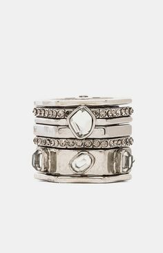 Rebecca Minkoff Hex Stack Box Rings in Rhodium