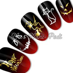 Nail Art Water Transfers Decals Sticker Gold/Silver Halloween Witches Cats C048