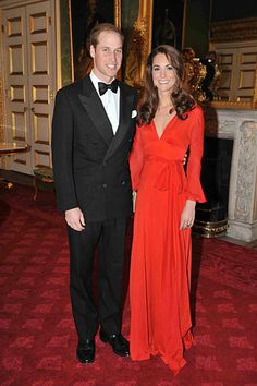Duke & Duchess of Cambridge.  Dress: Beulah