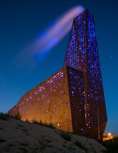 A waste energy plant that glows (with LED-lights) in Roskilde, Denmark