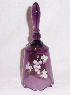 Signed Hand Painted Fenton Purple Amethyst Glass Bell Grapes Grapevines