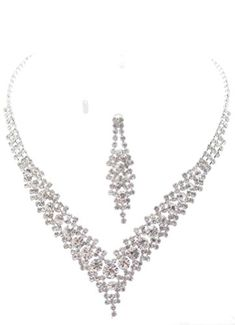 Fancy Elegant Jewelry Collection V Clear Crystal L Bridal Necklace Earring * You can find out more details at the link of the image.