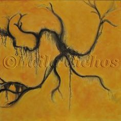 """Gul abstraktion"" (yellow abstraction). Acrylic painting on canvas by Laila Cichos."
