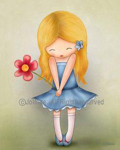 Girl wall art print room decoration , kids artwork children wall art, nursery decor, nursery art prints