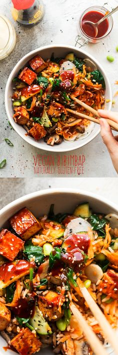 #vegan #bibimbap #tofu #korean #healthy #eggfree #lunch #bowl #entree #vegetarian