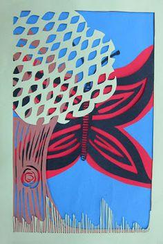 Upper School Art (Grades 7-12): Construction Paper Layers high school art project