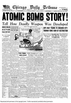 Atomic bomb dropped on Hiroshima, 1945.