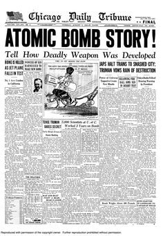 Atomic bomb dropped on Hiroshima, 1945.