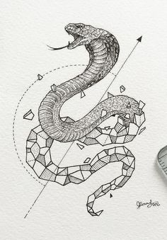 Geometric cobra tattoo design • More tattoo sketches on artskillus.ru