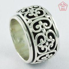 GOTTA DESIGN 925 Sterling Silver Spinner Ring R4725, Sz. 8 US #SilvexImagesIndiaPvtLtd #Spinner #AllOccasions