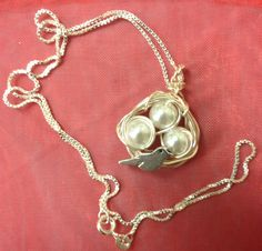 Bird's Nest Pendant w/Mama Bird Charm on an 18 inch sterling chain, Mother's or Grandmother's Gift  - choose 1, 2, 3, 4 or more pearl eggs by AnnPedenJewelry on Etsy