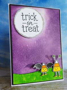 Lawn Fawn - Trick or Treat, Sweet Christmas _ Trick or Treating Candy Corn, really clever card by Heather at Stamping and Stitching http://stampingandstitching.blogspot.ie/2013/10/trick-or-treat-candy-corn.html