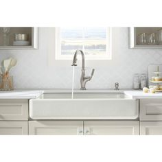 KOHLER Whitehaven SmartDivide Undermount Farmhouse Short Apron-Front Cast  Iron 36 in. Double Basin