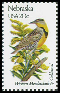 10 Vintage Meadowlark Postage Stamps // Western Meadowlark and Goldenrod / Nebraska State Bird and State Flower / 20 Cent Stamps for Mailing Vintage Stamps, Vintage Birds, Poster Vintage, Flower Catalogs, Nebraska State, Postage Rates, State Birds, Watercolor Pictures, Flower Stamp
