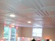 Decorative drop ceiling w recessed lighting for a basement. & coffered drop ceiling pictures | ceiling for finished room in ...