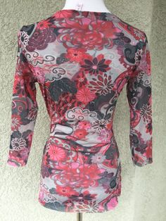 SWEET PEA Large Blouse Top Floral Print Faux Wrap 3/4 Sleeve Pink Gray