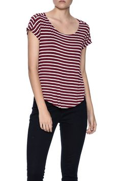 b35512d8b198 Striped short sleeve top with draped back. Striped Tee by Double Zero.  Clothing - Tops - Short Sleeve Naples