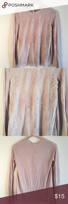 25% OFF BUNDLES Tan cream long sleeve blouse Long sleeve blouse with lace front detail! Gorgeous! Size xs but fits like a small Forever 21 Tops Blouses