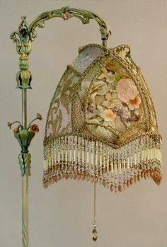 Christine Kilger's Nightshades are one-of-a-kind victorian lampshades with hand-beaded shades on period lighting fixtures and are designed and created with rare antique fabrics, appliqués and embellishments circa Lampe Art Deco, Art Deco Lamps, Art Deco Lighting, Lighting Ideas, Victorian Lamps, Antique Lamps, Victorian Era, Art Nouveau, Estilo Shabby Chic