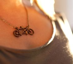 tandem bicycle necklace made of bamboo