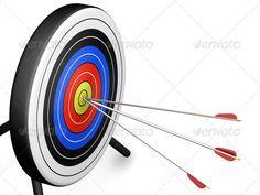 Bullseye by kjpargeter 3D render of arrows hitting a target