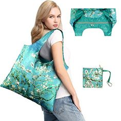 Reusable Grocery Bags with Zipper Closure Cute Tote Almonds Bag Foldable Zippered Pocket Fashion Shopping Bags for Hiking Holiday Nylon Grocery Bag Eco-Friendly Waterproof Large Cloth Bag