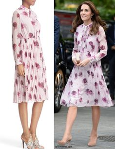 hrhduchesskate:  World Mental Health Day Events, October 10, 2016-The Duchess of Cambridge debuted a Kate Spade New York Encore Rose Chiffon Dress in 'plum dawn', accessorized with her Gianvito Rossi Praline suede pumps, L.K. Bennett 'Nina' clutch, and Kiki McDonough morganite and diamond cushion drop earrings
