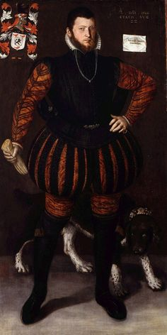 Portrait of a man aged 22, by Barendsz. Vander Hoef, dated 1566. He wears a black jerkin with hanging sleeves over a rust colored doublet.