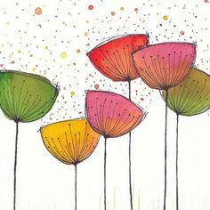 Painting Watercolor Flowers Art Journals Ideas For 2019 Watercolor Cards, Watercolour Painting, Watercolor Flowers, Painting & Drawing, Drawing Flowers, Painting Flowers, Doodle Flowers, Watercolor Ideas, Watercolor Sketch