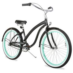 "26"" Firmstrong Bella Fashionista Three Speed Women's Beach Cruiser Bicycle, Gloss with Green Rims"