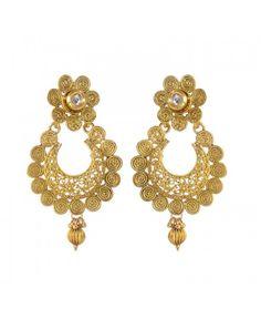 Designer Jadau Classic Polki Work Copper Drop Earring13
