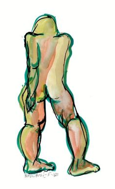 "Saatchi Art Artist Françoise Zia; Drawing, ""Standing nude in color 19"" #art"